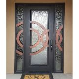 Beautiful Luxury Iron Single Door with Sidelights