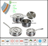 5 Ply Composited Body Copper Core Cookware Kitchenware Waterless Cookware Set
