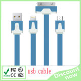 3 in 1 Noodle High Quality Two Type USB Cable for iPhone Sangsung HTC