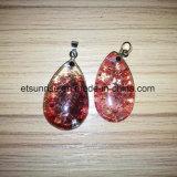Semi Precious Stone Fashion Crystal Gemstone Red Phantom Bead Pendant