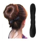 Solid Black Nylon Sponge Taenia Headbands Hair Donut Hairdisk Device Quick Messy Bun Hairstyle Hats