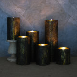 Wavy Edge Copper Metalic LED Flameless Candle with Battery Operated Flicker