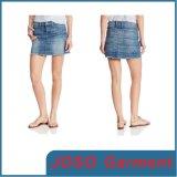 Stylish Ladies Short Jean Skirt with Printed Pattern (JC2046)