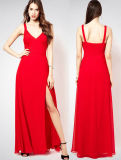 Slit Straps Long Sexy Red Lady′s Evening Dress