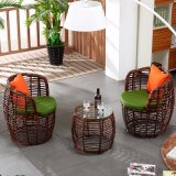 1+2 Tables and Bar Stools Leisure Rattan Wicker Table Garden Furniture Sets (Z307)