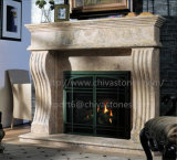 Fp017 Beige Travertine Marble Fireplace Surround Hand Carved Double Fireplace