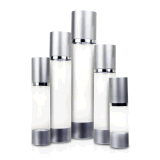 30ml 50ml 80ml 100ml 120ml Black Round Plastic Matt Silver Cosmetic Airless Pump Frosted Bottle