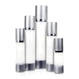 30ml 50ml 80ml 100ml 120ml Black Round Plastic Matt Silver Cosmetic Airless Pump Frosted Bottle