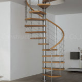 Modern Design Space Saving Mild Steel Wood Spiral Stairs