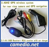 2.4GHz GPS Wireless System with Car Charger (2.5AV/USB receiver+RCA transmitter)