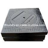 Gray Iron Square Manhole Frame with Round Covers