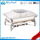 Electrolytic Stainless Steel Luxury Roll Top Glass Lid Oblong Chafing Dish for Sale with Fuel Holder