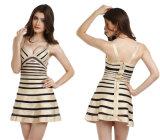 Bandage Gold and Black Flared Bandage Dress