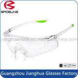 Adjustable PC Glasses Ce En166 Elastic Safety Goggles Clear Lens Rubber Temple Tips