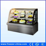 Curved Glass Stainless Steel Cake Display Fridge Showcase