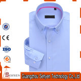100%Cotton Blue Long Sleeve Slim Formal Dress Shirt for Men