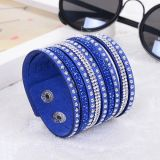 Fashion Rhinestone Multi Layer Bangle Leather Bracelet Jewelry