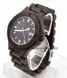 Unisex Date Day Watch Ebony Wood Wrist Watches Men Women