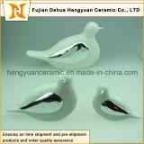 White Glaze and Electroplate Ceramic Bird (Home Decoration)