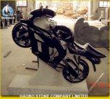 Black Granite Headstone in Motorcycle Design