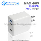 Type-C QC 3.0 3 Port USB Charger Adapter 5V 3A 9V 2A 12V 1.5A Fast Charge Wall Charger for iPad iPhone Android Phone
