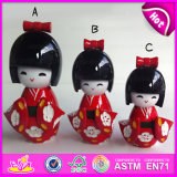 2015 Hot Promotional Kids Wooden Fashion Doll, Small Cute Wooden Puppet Doll, Customized Lovely Wooden Kimono Puppet Doll W06D069A