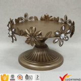 Flower Leaf Decor Gold Painted Cake Stand Antique Metal Plate