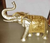 Sandstone Polyresin Carving Golden Elephant Sculpture for Home or Garden Decoration