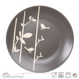 Grey Bird and Tree Shape Ceramic Dinner Plate