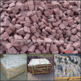 China Natural Stone Red Porphyry Cube Stone/Cobble Stone for Paving