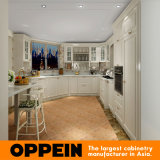 Oppein White Curved Layout Kitchen Cabinet with Lacquer Finish (OP15-L36)