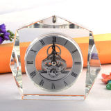 Crystal Table Souvenir Gifts Clock in Silver Movement