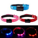 LED Solar Flashing Lights Dog Collar Safety Adjustable Rhinstone Pet Collar Strap