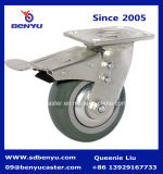 Heavy Duty Arcuate Caster High Elastic TPR Wheel Double Brake