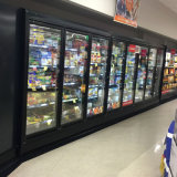 Vertical Multideck Glass Door Commercial Freezer Refrigerator Showcase