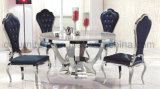 White Glass Round Dining Table Set