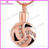 Stainless Steel Cremation Necklaces Round Pendants with Crystals
