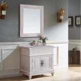 White Paint Solid Wood Waterproof Bathroom Vanity Cabinet (GSP14-007)
