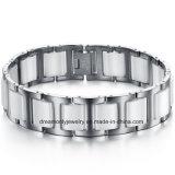 White Black Piano Design Steel Ceramic Bracelet