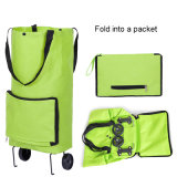 Foldable Nylon Grocery Portable Wheeled Market Shopping Trolley Bag