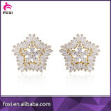 Latest Brazil Style White Stone Gold Plated Earring Jewelry