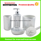 Silvery Effect 4 PCS Ceramic Bathroom Accessories Soap Dispenser