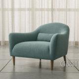Light Grey Color Upholstered Living Room Design Wood Legs Chair