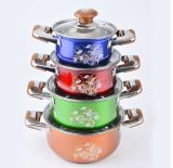 4 Pieces Stainless Steel Soup Pot with Wooden Handle (JX-010)