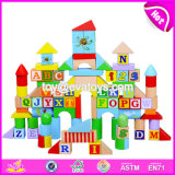 Wholesale Customize 128 Pieces Baby Preschool Wooden Letter Blocks for Education W13b029