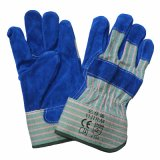 Blue Leather Protection Working Gloves