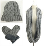 Mens Womens Unisex 3PC Winter Warm Beanie Long Gloves Flip Cover Scarf Hat Set Cable Twisted Snood Loop Scarf (SK801S)