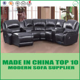 Modular Home Leather Sofa Theater Wooden Recliner Chair