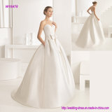 Classic Fashion Sweetheart Neckline Lace Bodice Wedding Gown with Appliqued Stones and Bow Waistband