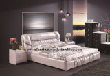 Popular Pink Double Bedroom Soft Leather Bed (J320-2)